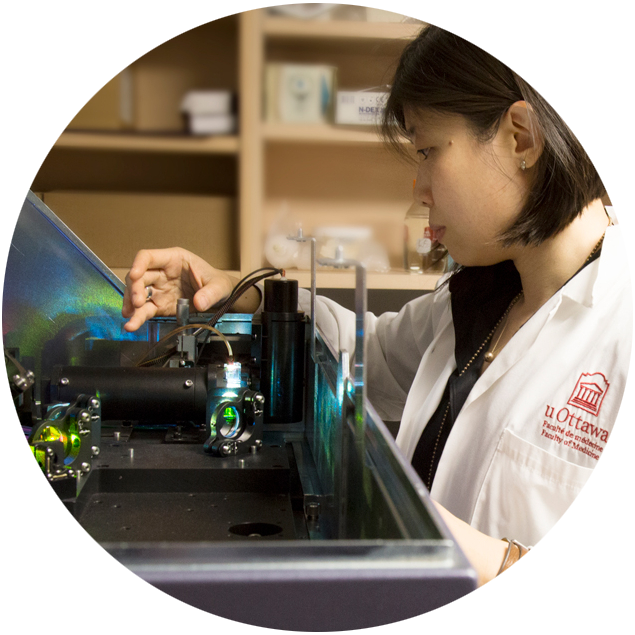 A female student in a laboratory