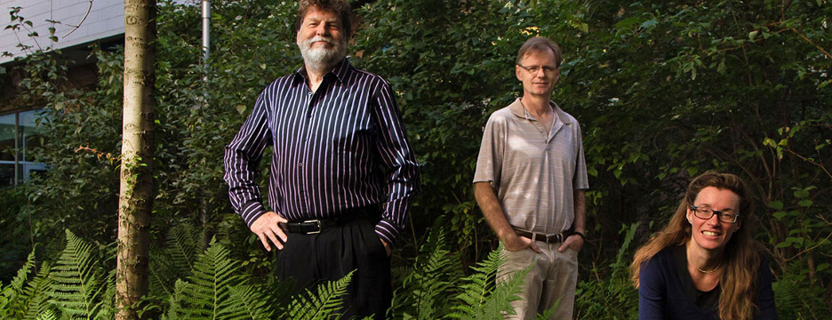 Left to right: Chemistry professors Tom Baker, Michael Organ and Deryn Fogg of the Centre for Catalysis Research and Innovation. Photo: Peter Thornton.