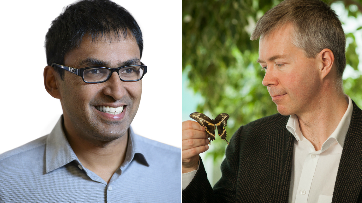 Professor Kumanan Wilson is on the left side and Professor Jeremy Kerr is on the right side holding a butterfly in his right hand.