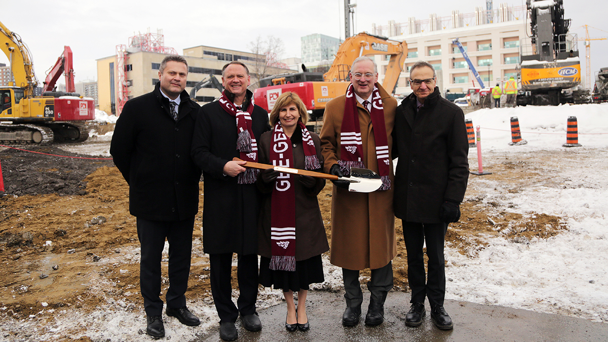Ground breaking at STEM building construction site