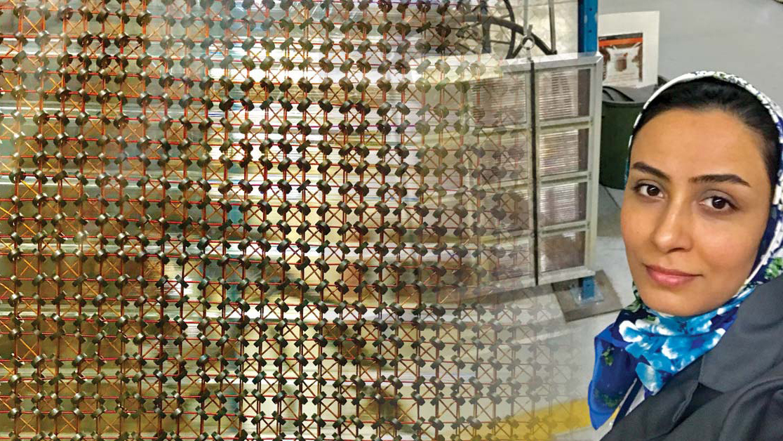 A doctoral student in front of a core memory plane