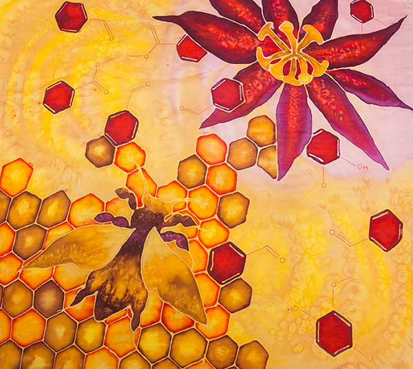 Hex - painting on silk by Hannah Gorham-Smith