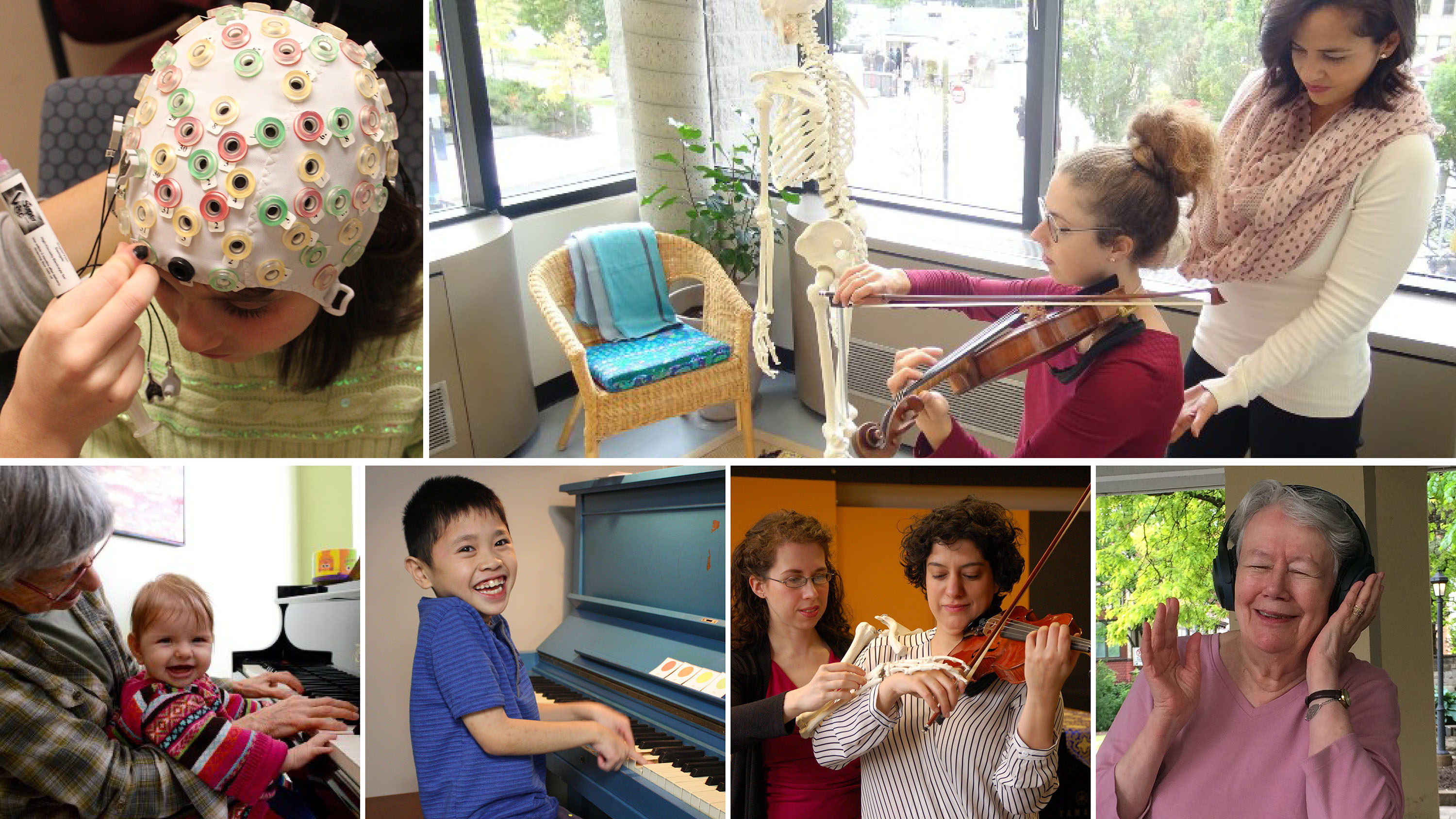 A photo montage showing the benefits of music and music therapy on physical, sensory, cognitive and mental health