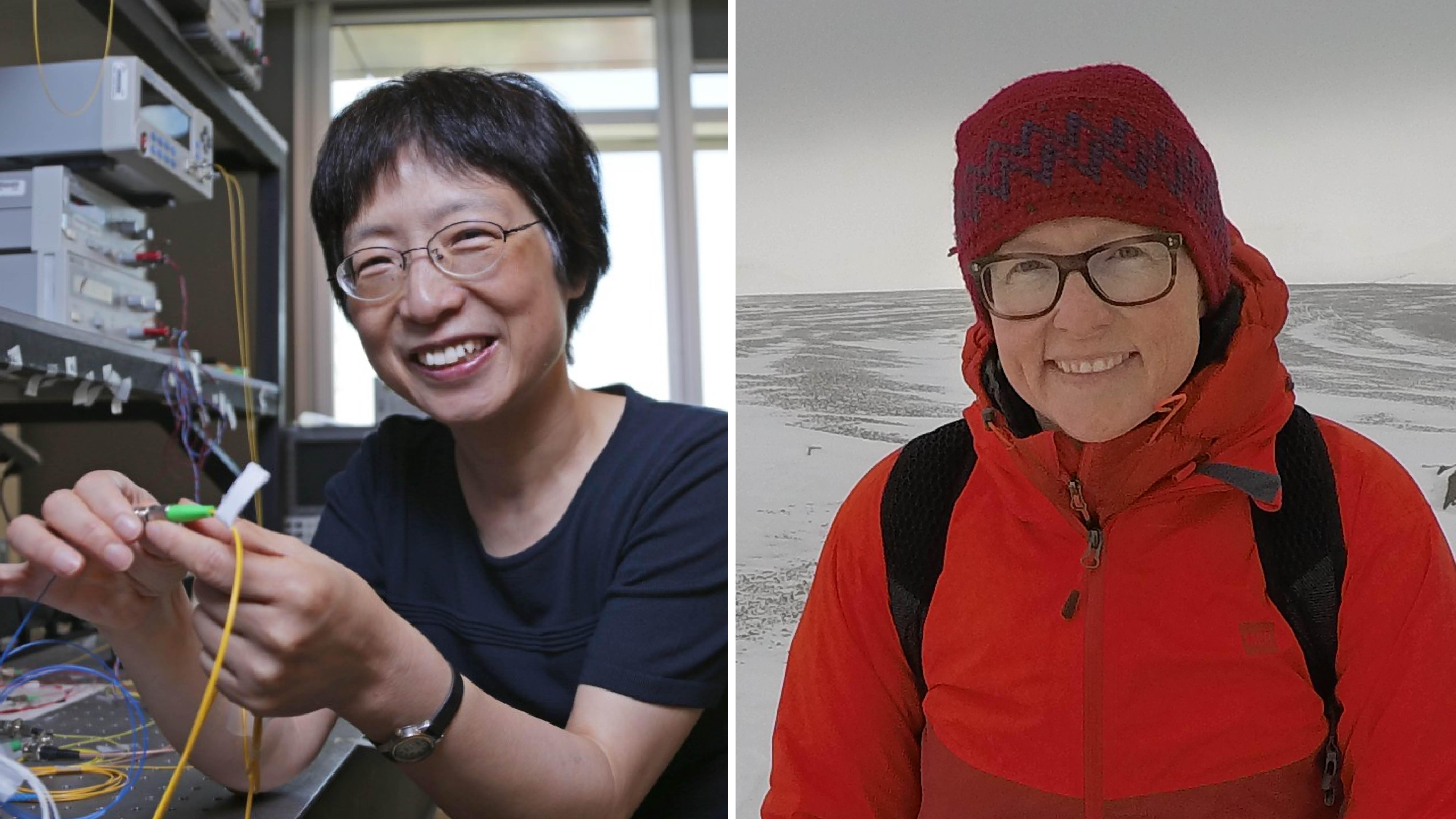 Photo montage of Xiaoyi Bao in her lab and Jackie Dawson in the Arctic