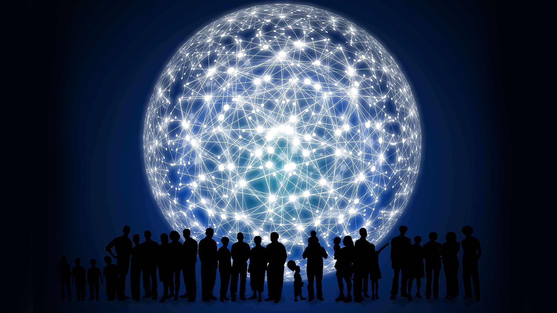 A row of human figures in front of a giant sphere representing networks of connections.