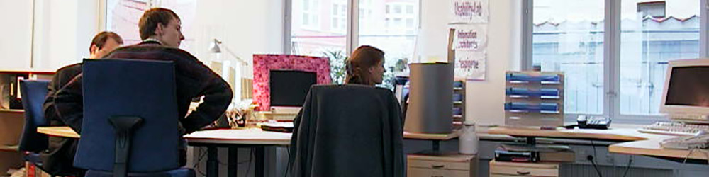 Employees at their computer