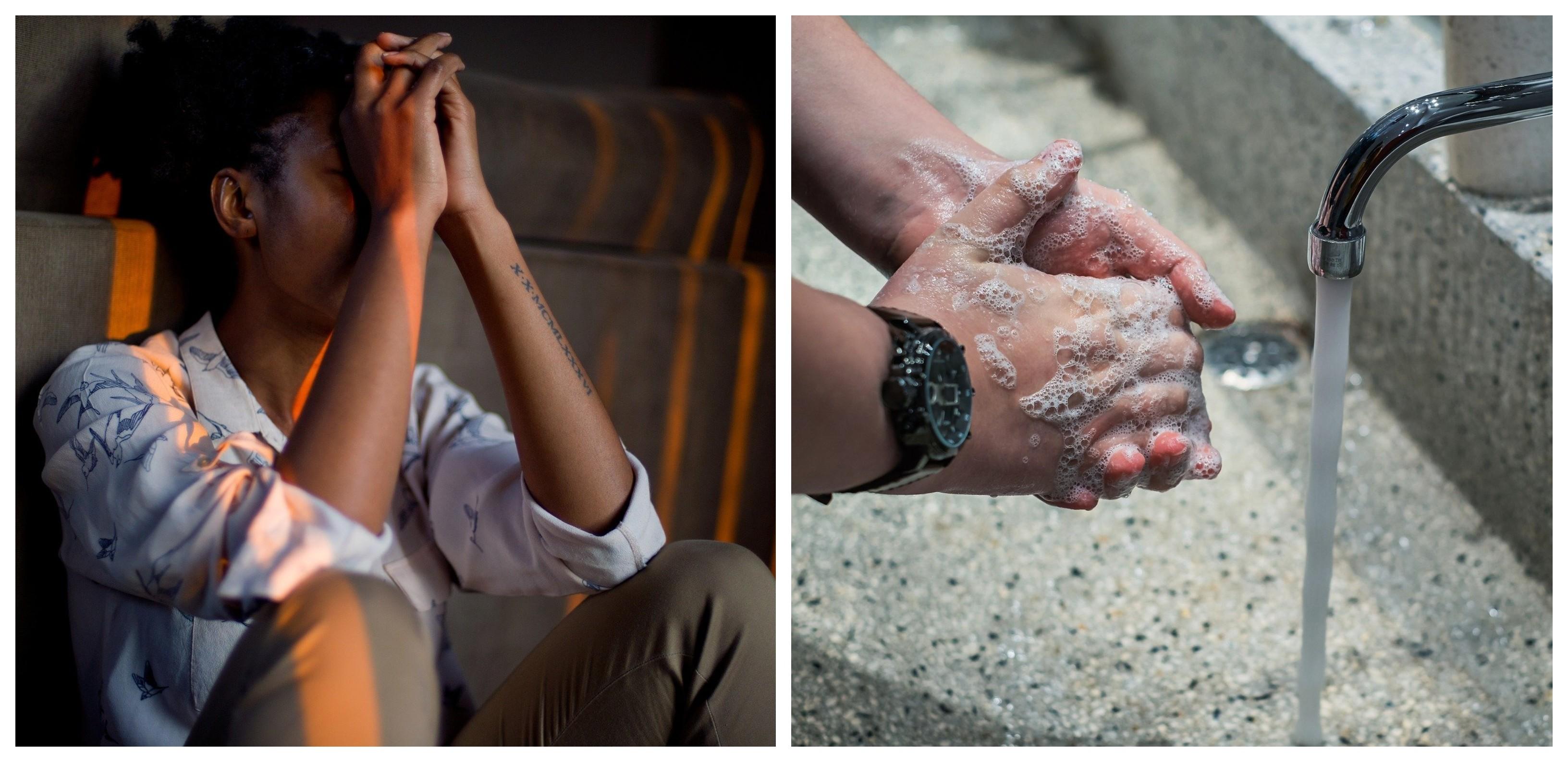 Lavage de mains et femme déprimée assise au sol