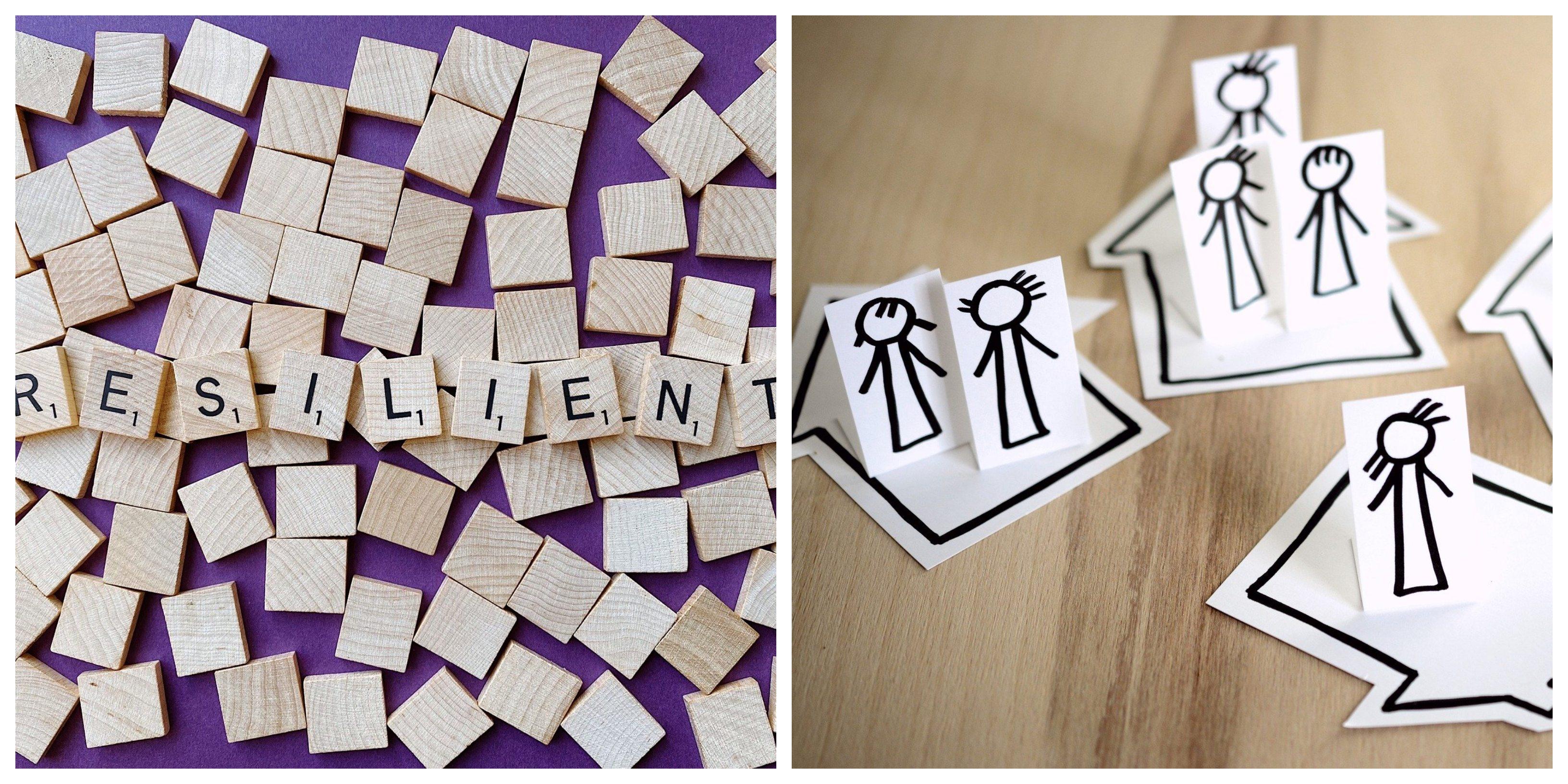 Mot Résilient en lettres de Scrabble et illustration de personnes en confinement à la maison
