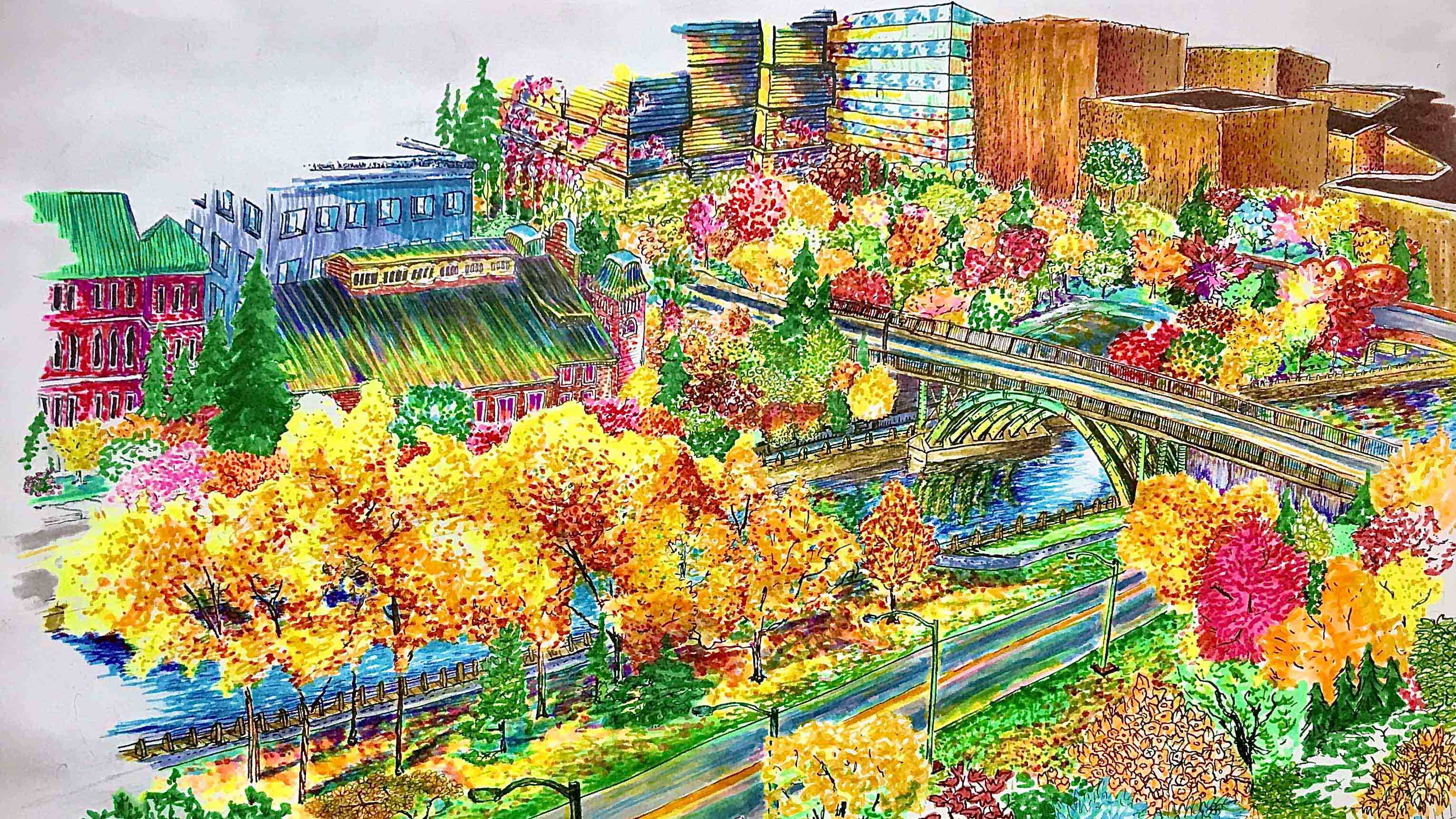 A drawing of a view from a uOttawa student's residence room view